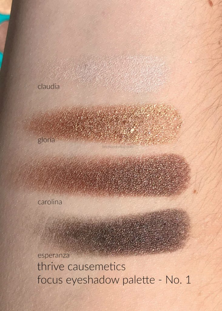 Close Up Swatches of Thrive Causemetics Focus Eyeshadow Palette No. 1 | Brighter Darling