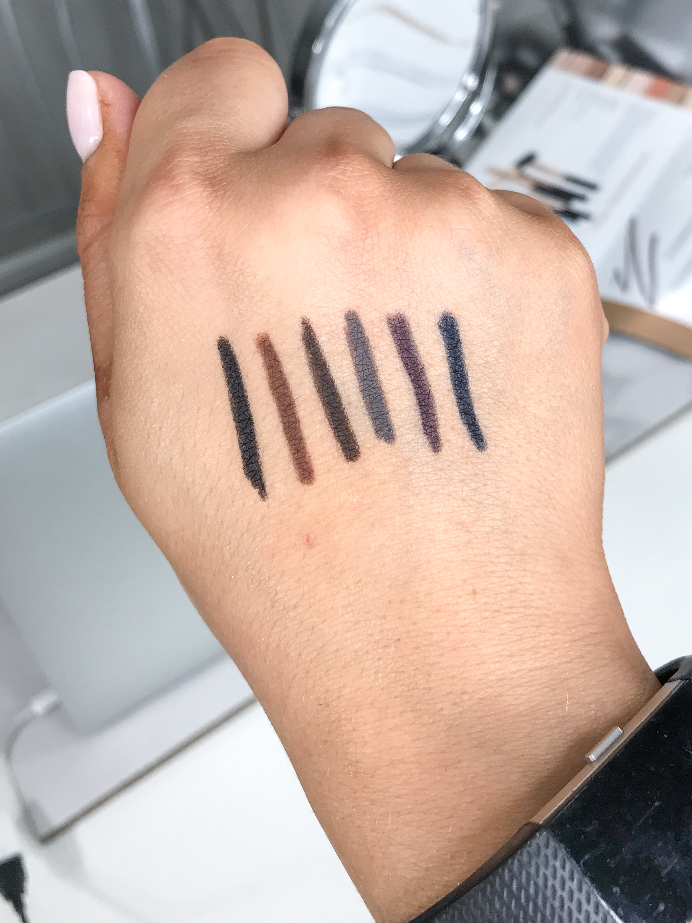 bareMinerals one fine line micro liners swatches | brighter darling blog