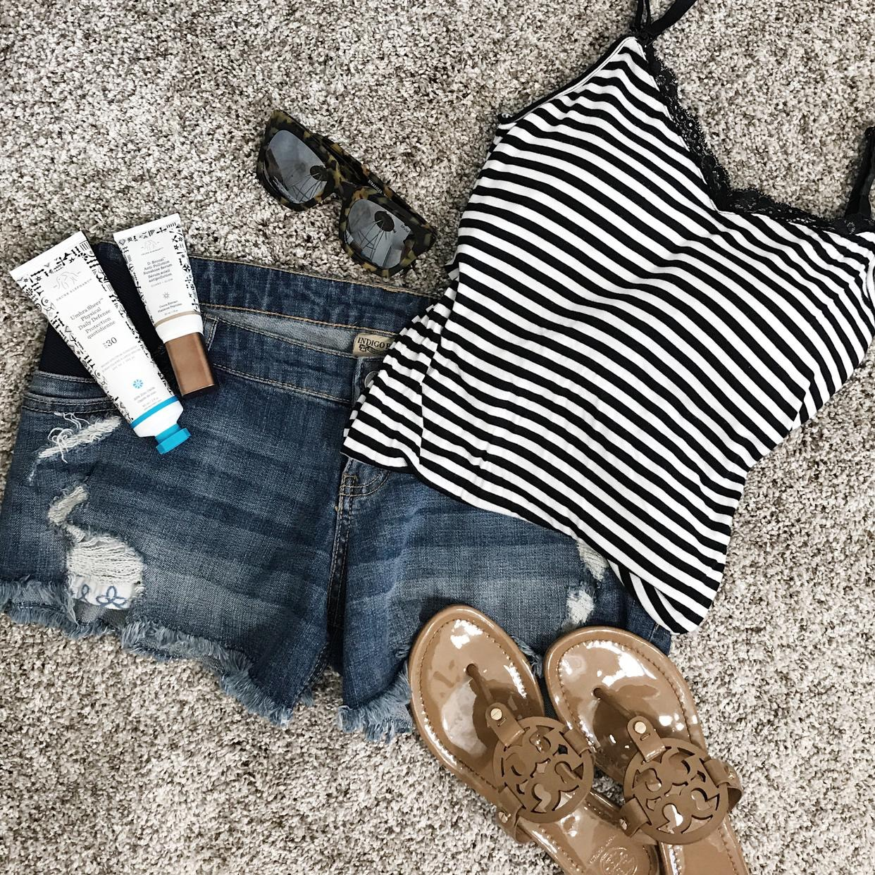 Brighter Darling Blog Go To Trendy Summer Maternity Outfit   Cute Maternity Striped Tank Top, Maternity Cut off Denim Shorts, Tory Burch Miller Sandals Nude Flip Flops