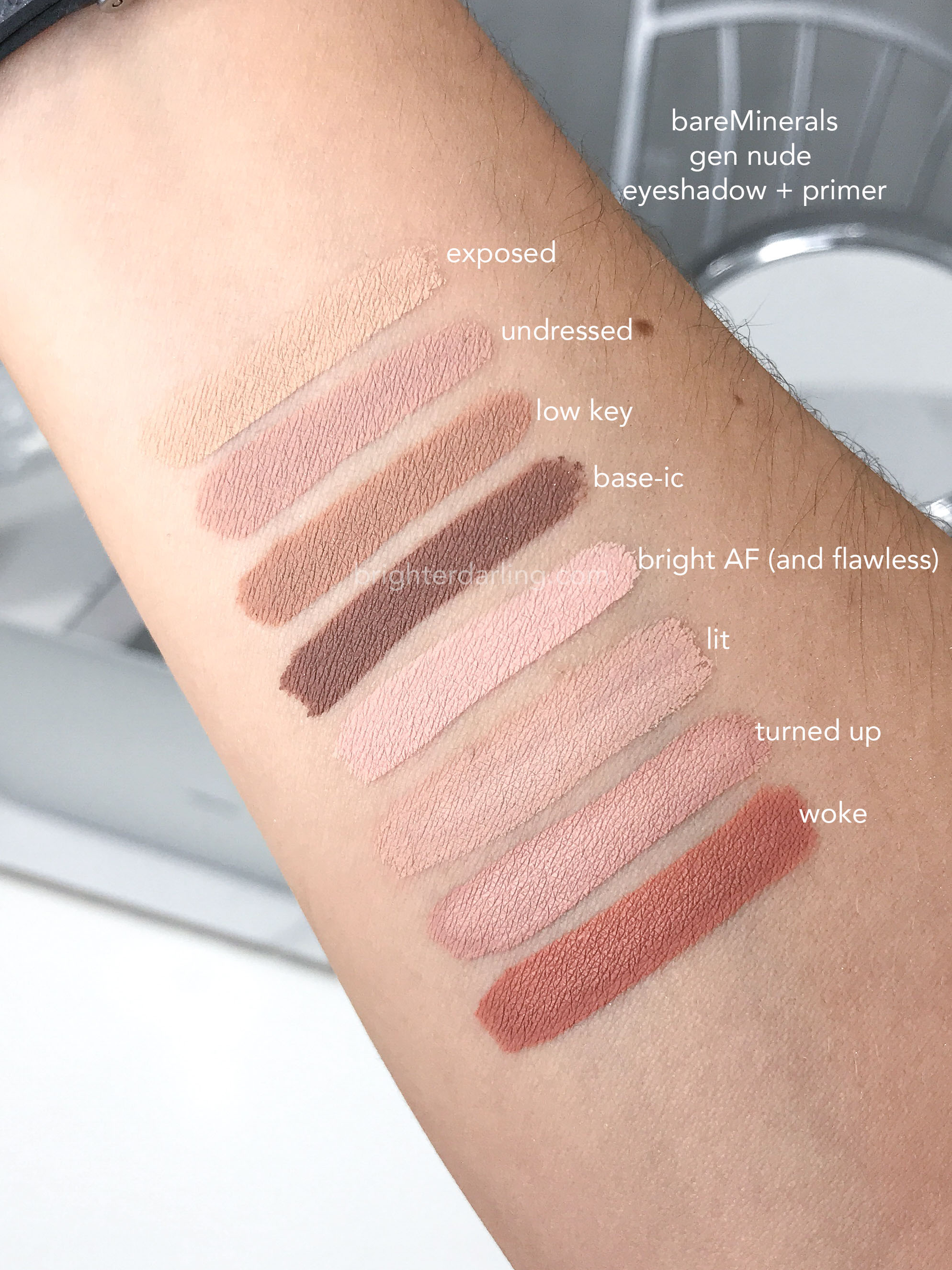 bareMinerals gen nude primer swatches labeled