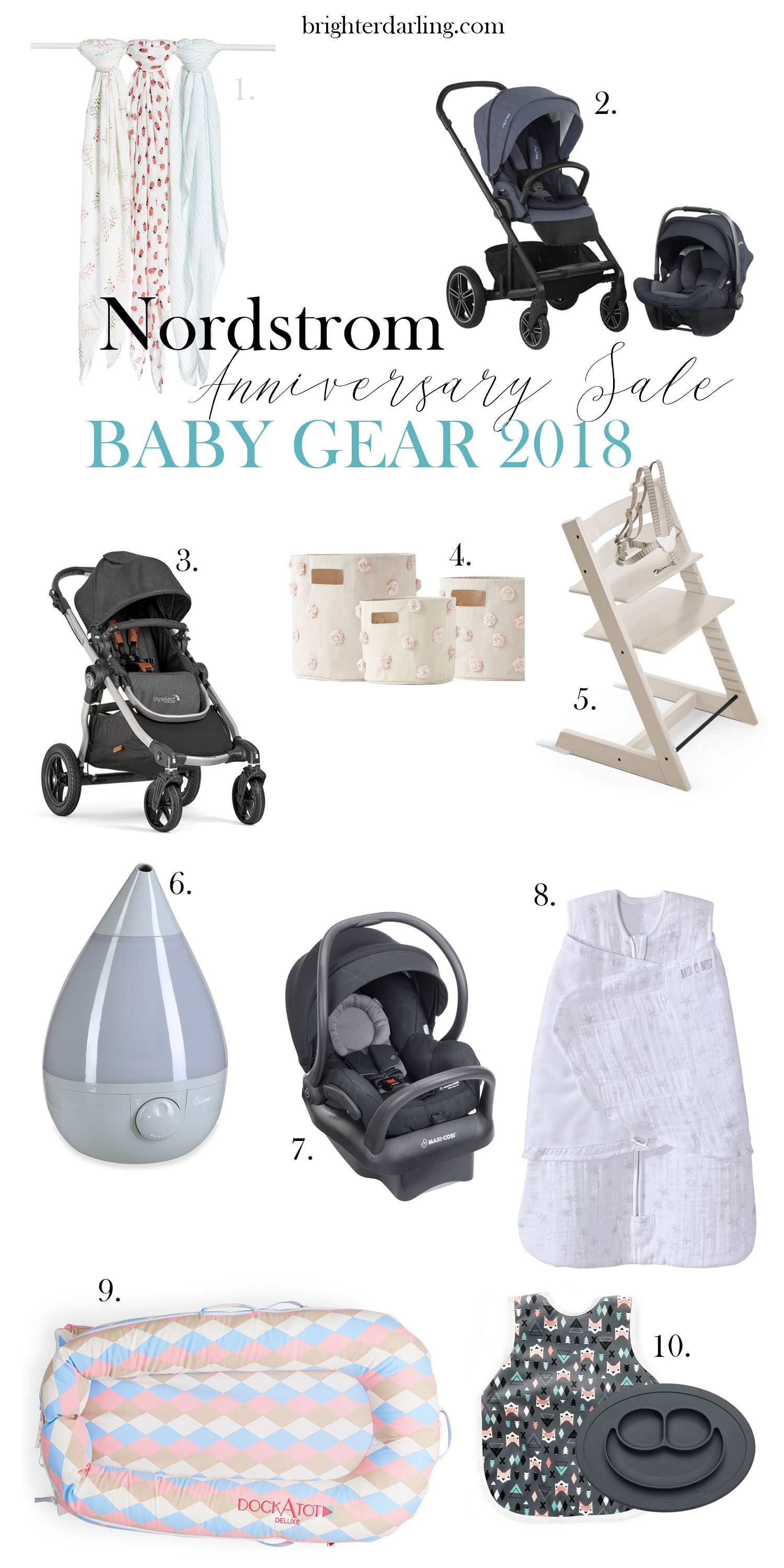 Nordstrom Anniversary Sale 2018 Baby Picks | Brighter Darling Blog | nuna MIXX stroller, Baby Jogger City Select Stroller, Crane Humidifier, Maxi Cosi Infant Car Seat Nordstrom, ezpz Silicone Feeding Mat, Halo Muslin Sleepsack, Stokke High Chair, Aden and Anais Swaddling Blankets, Petit Pehr Canvas Bins Nordstrom, DockATot Nordstrom Sale