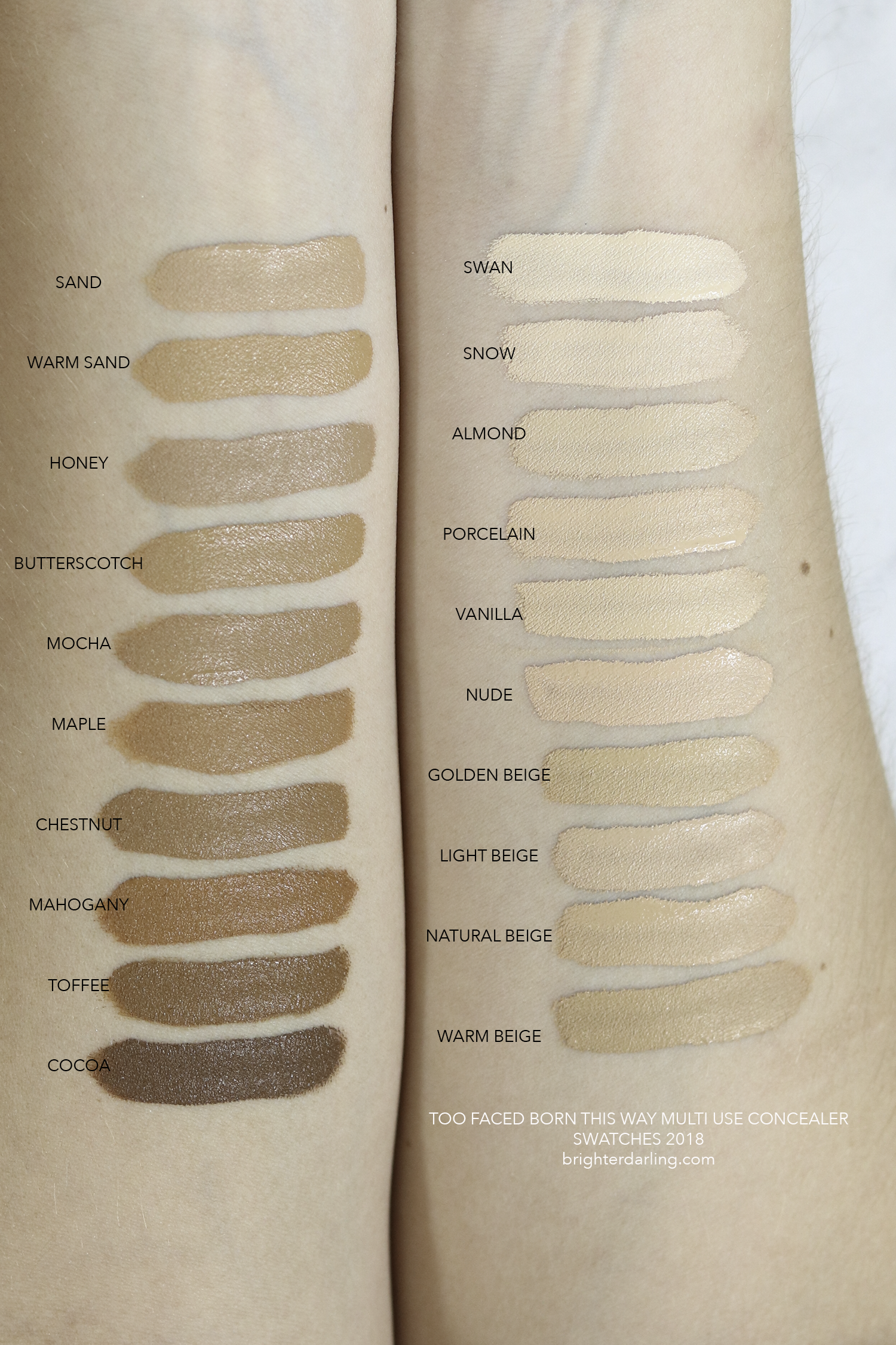 Too Faced Born This Way Multi Use Sculpting Concealer Swatches Brighter Darling