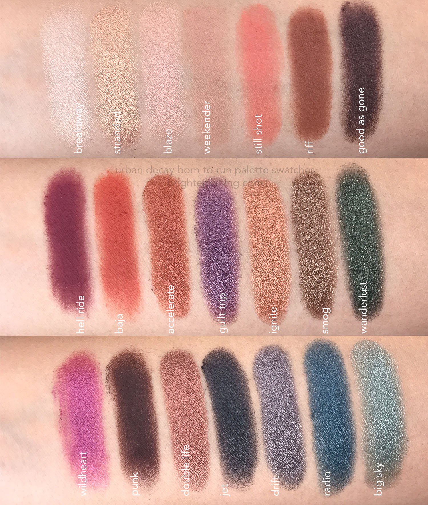 Urban Decay Born To Run Palette Swatches On Medium Skin | Brighter Darling Blog