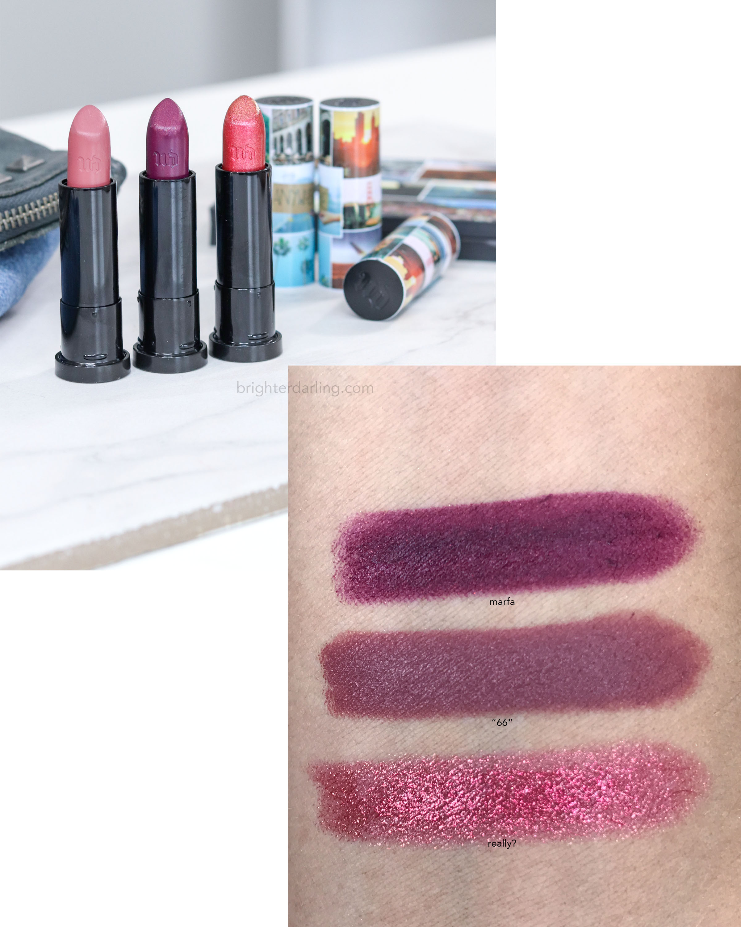 Urban Decay Born To Run Vice Lipstick Swatches | Marfa, 66, Really