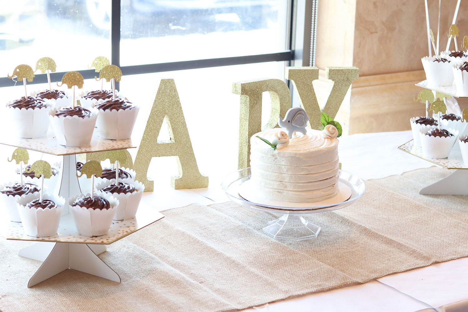 White, Ivory, Rustic Baby Shower Decor with Elephant Cake Topper | Brighter Darling Blog