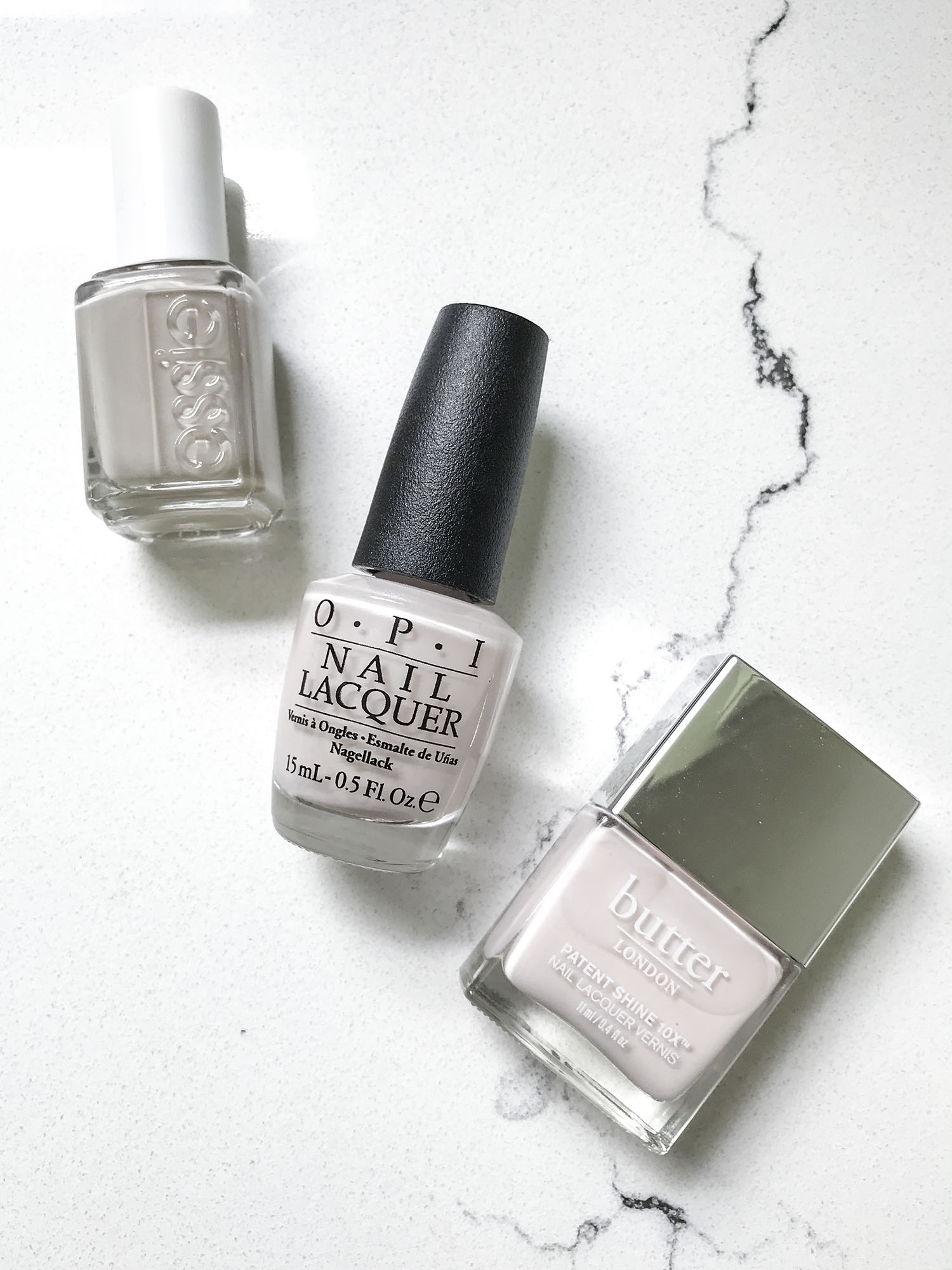 Essie Sand Tropez vs OPI Let Me Bayou A Drink vs Butter Twist and Twirl