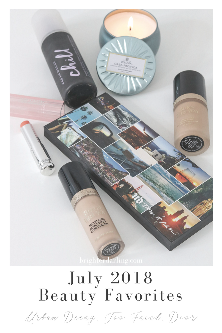 July 2018 Beauty Favorites From Urban Decay Too Faced and Dior _ Urban Decay Born To Run Palette, Chill Makeup Setting Spray, Too Faced Born This Way Foundation and Concealer
