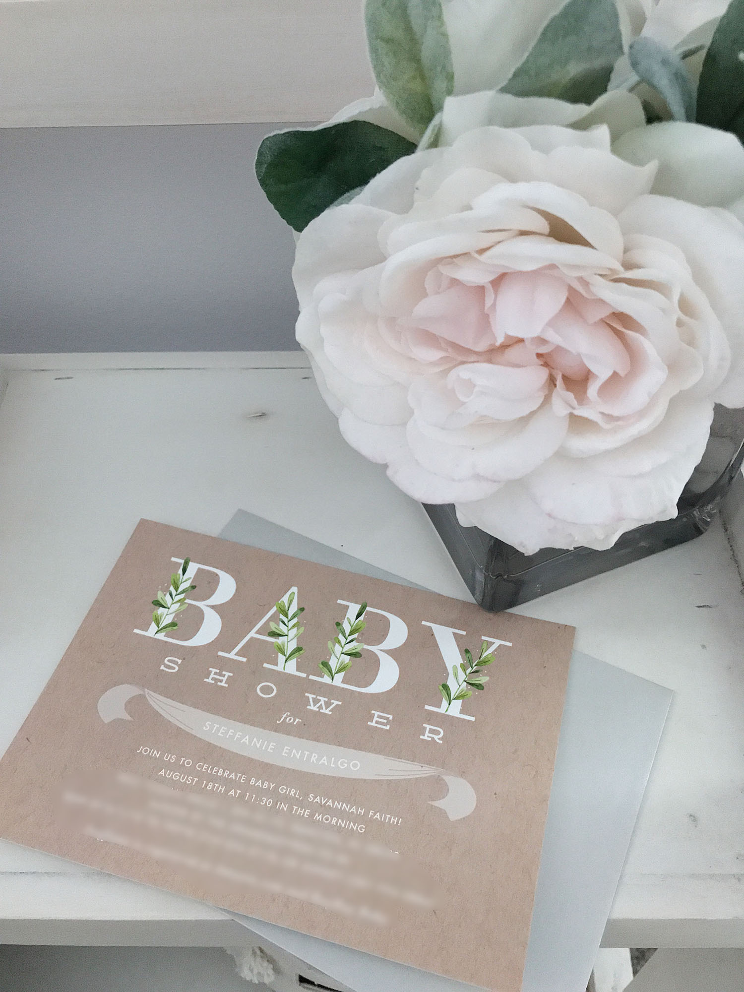 Simple Neutral Baby Shower Invitation For Baby Girl | Botanical Baby Shower Invitation Baby Girl | Brighter Darling Blog