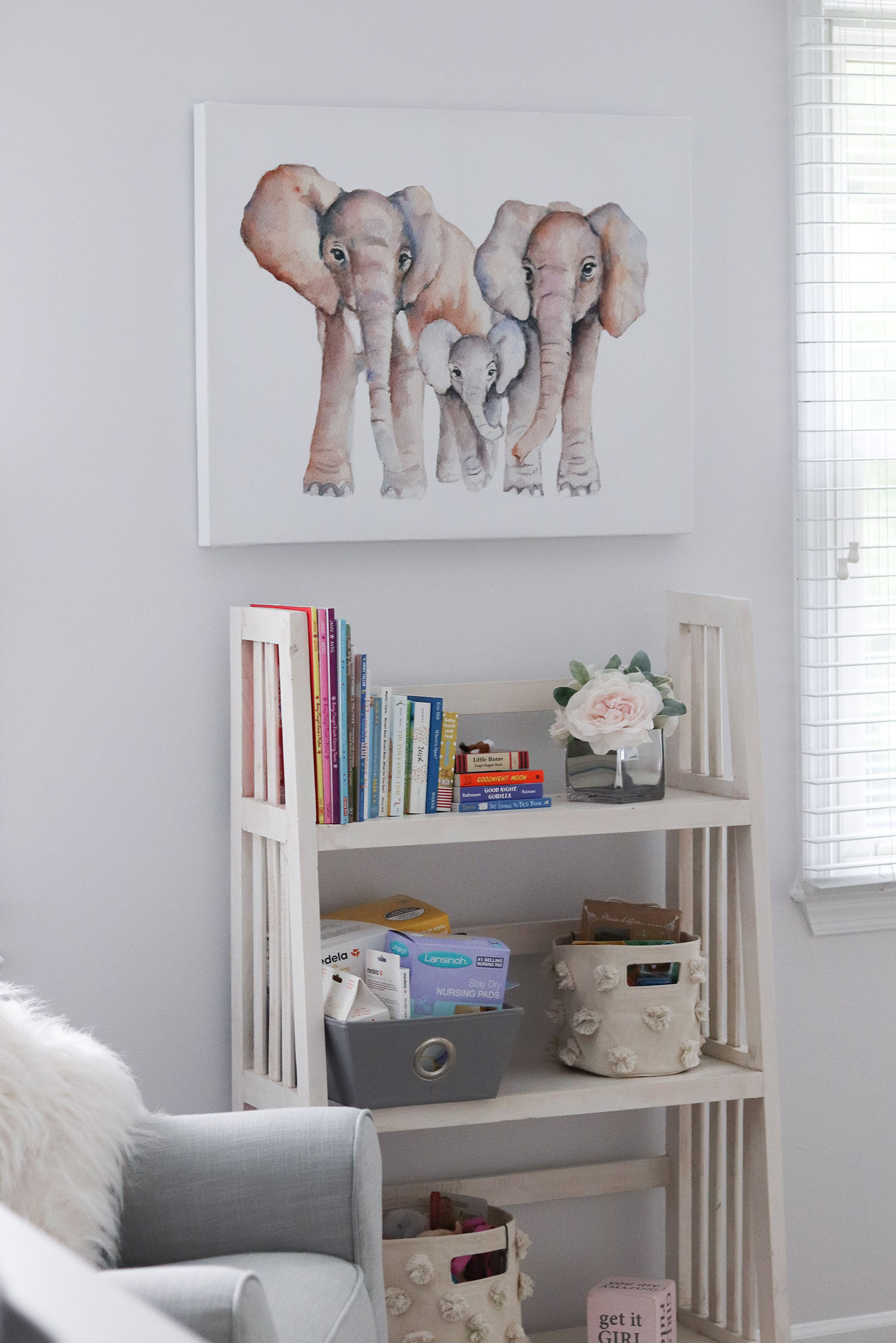 Lavender and Grey Baby Nursery Inspiration and Ideas | Homegoods Elephant Wall Decor and Rustic Bookshelf | Baby Nursery Storage Ideas for Nursing Gear, Baby Books and Toys