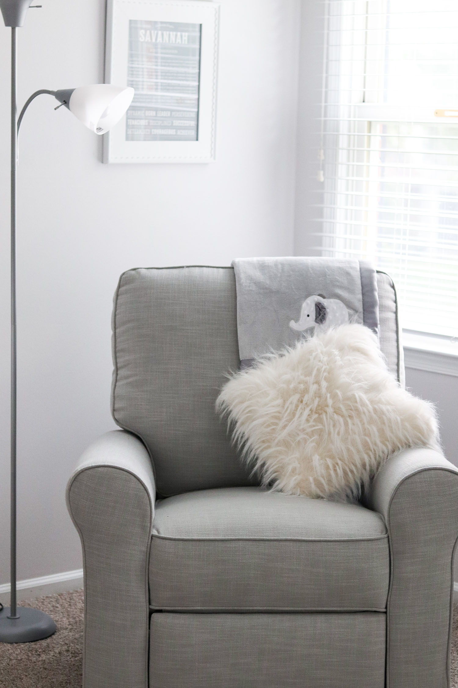 Lavender and Grey Baby Nursery with Elephants Ideas   Pottery Barn Kids Grey Glider Recliner with Elephant Baby Blanket and Fluffy White Pillow