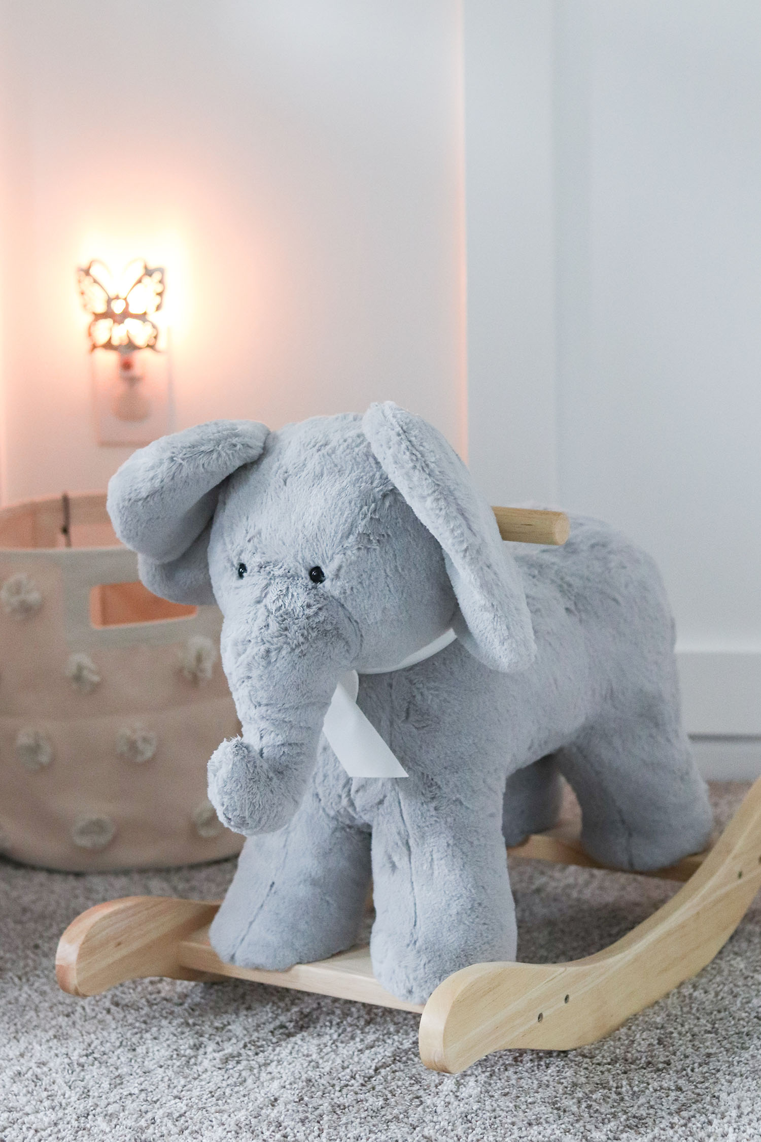 Pottery Barn Kids Elephant Rocker and Pehr Designs Canvas Tote in Baby Girl Nursery Decor Ideas | Lavender and Grey Baby Nursery Ideas