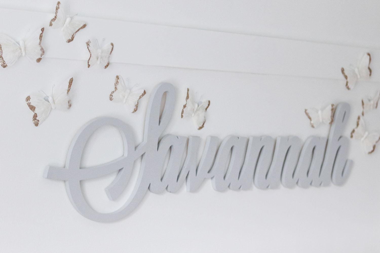 Baby Girl Wooden Monogram in Grey with Butterflies   Brighter Darling Blog Nursery Tour