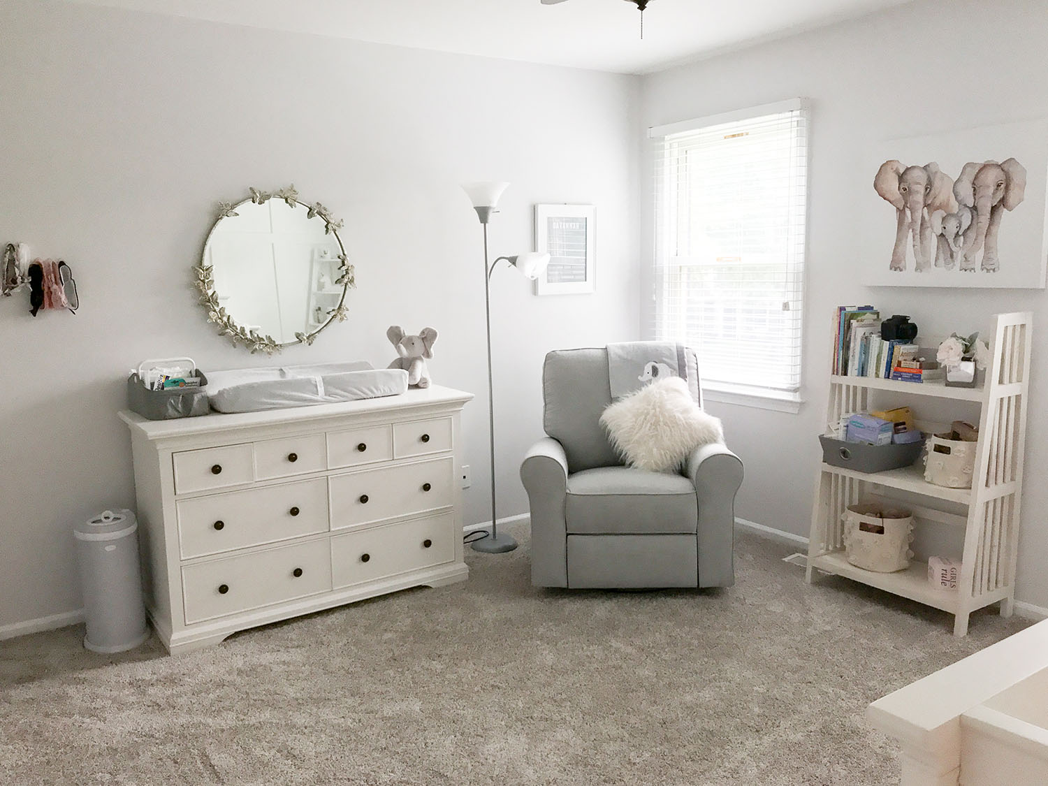 Lavender and Grey Baby Girl Nursery Ideas | Pottery Barn Larkin Extra Wide Dresser in Simply White with Baby Elephants | Pottery Barn monique lhuillier butterfly mirror baby girl nursery