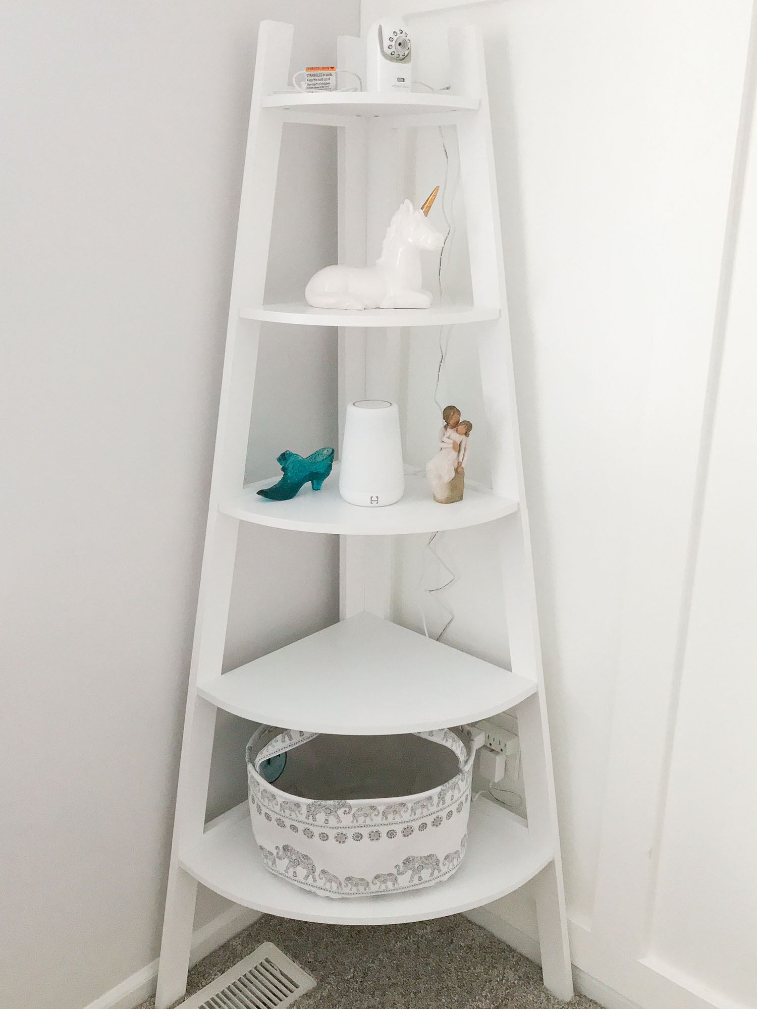 White Corner Bookshelf For Baby Nursery Storage Ideas