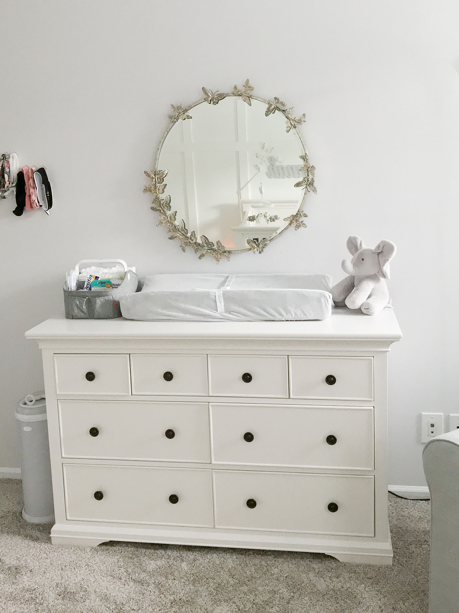 Lavender and Grey Baby Nursery Ideas | Pottery Barn Monique Lhuillier Butterfly Circle Mirror with Pottery Barn Larkin Extra Wide Dresser in Simply White | Baby Girl Nursery Ideas