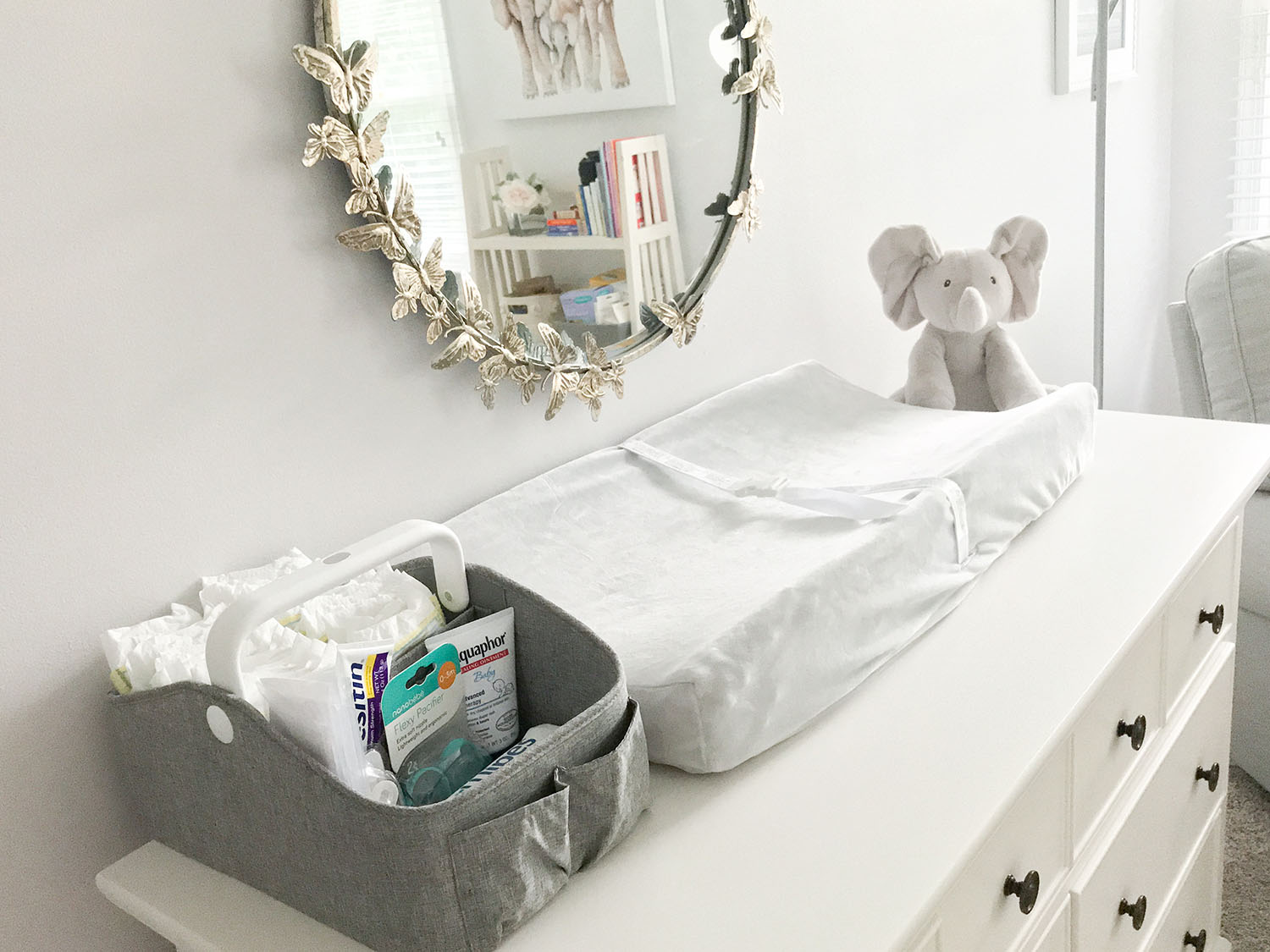 Lavender and Grey Baby Nursery Inspo   Pottery Barn Monique Lhuillier Butterfly Circle Mirror Baby Girl Nursery Ideas