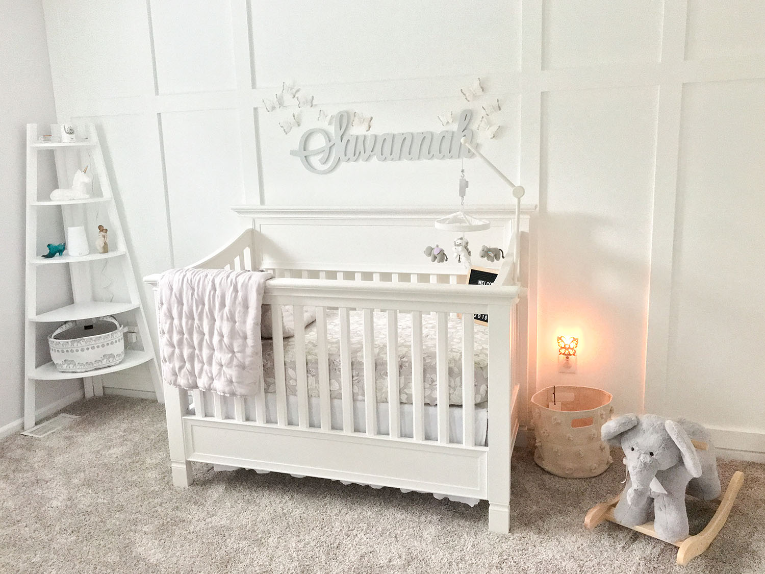 Lavender and Grey Baby Nursery Inspo | Brighter Darling's Baby Nursery Tour | Pottery Barn Larkin Crib in Simply White with Lavender and Grey Baby Bedding
