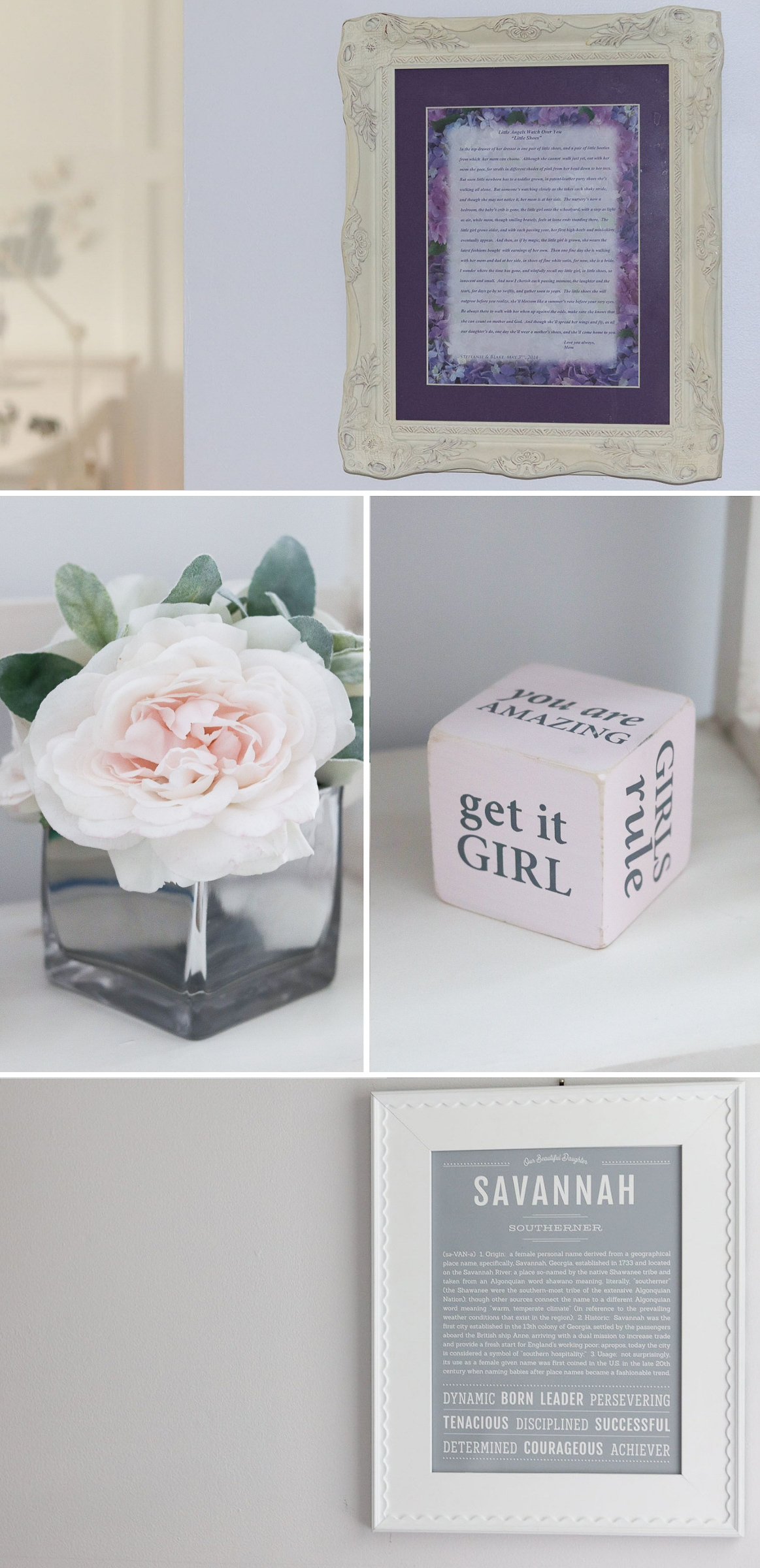 Lavender and Grey Baby Nursery Inspo | Baby Girl Nursery Wall Decor and Bookshelf Ideas