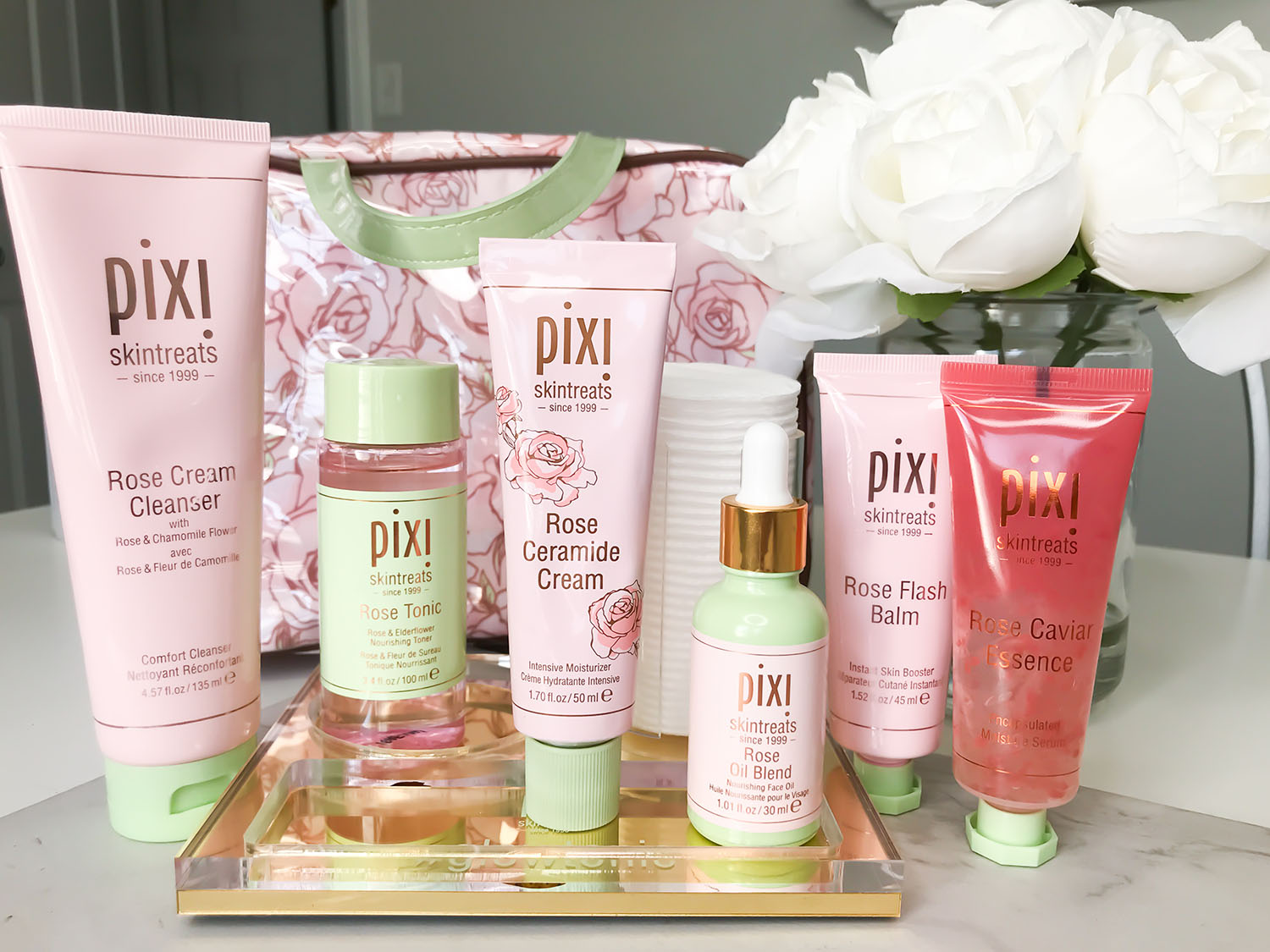 pixi rose infused skintreats review | affordable skincare for sensitive dry skin