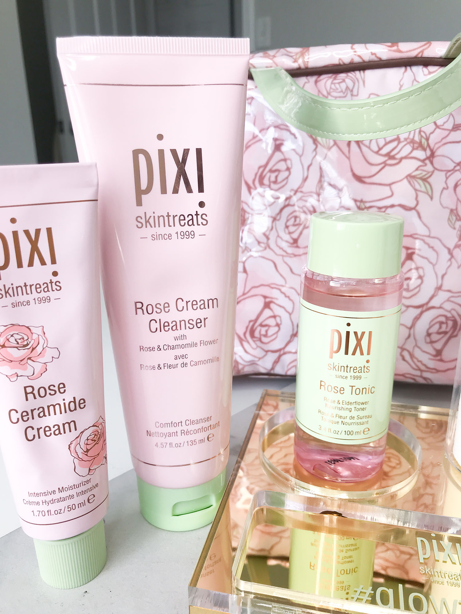 pixi skintreats rose cream cleanser and rose ceramide cream and rose tonic