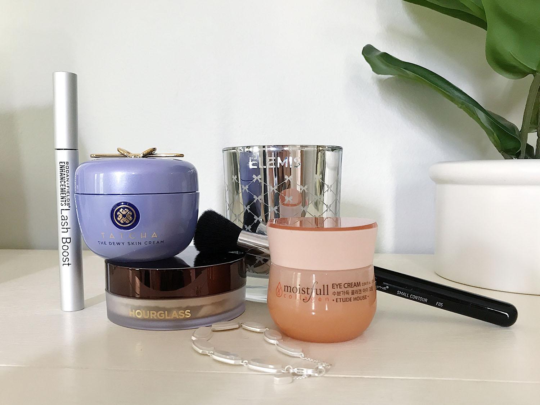 May 2019 Beauty Favorites Brighter Darling | Rodan and Fields Lash Boost Lash Growth Serum, Tatcha Dewy Skin Cream, Hourglass Veil Translucent Setting Powder, Etude House Moistfull Collagen Eye Cream