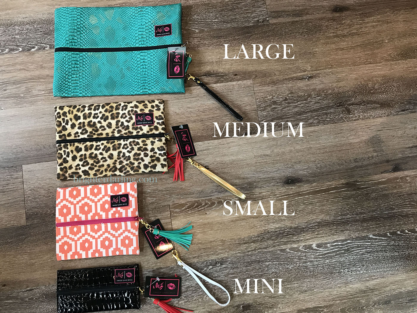 makeup junkie bag different sizes | brighter darling