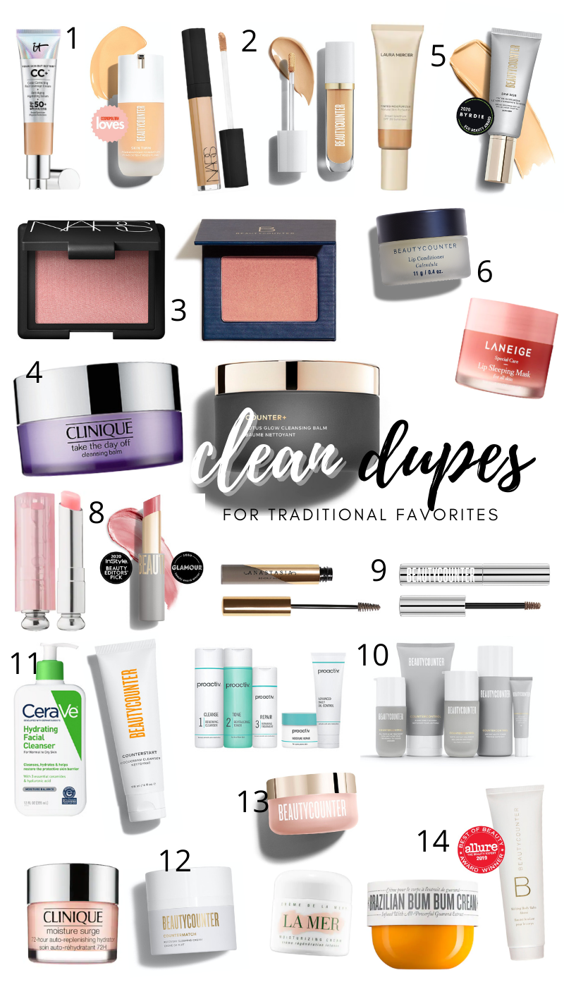 CLEAN BEAUTY DUPES _ Beautycounter Dupes for Traditional Dirty Makeup _ Clean Non Toxic Beauty Dupes Brighter Darling Blog Updated 2021