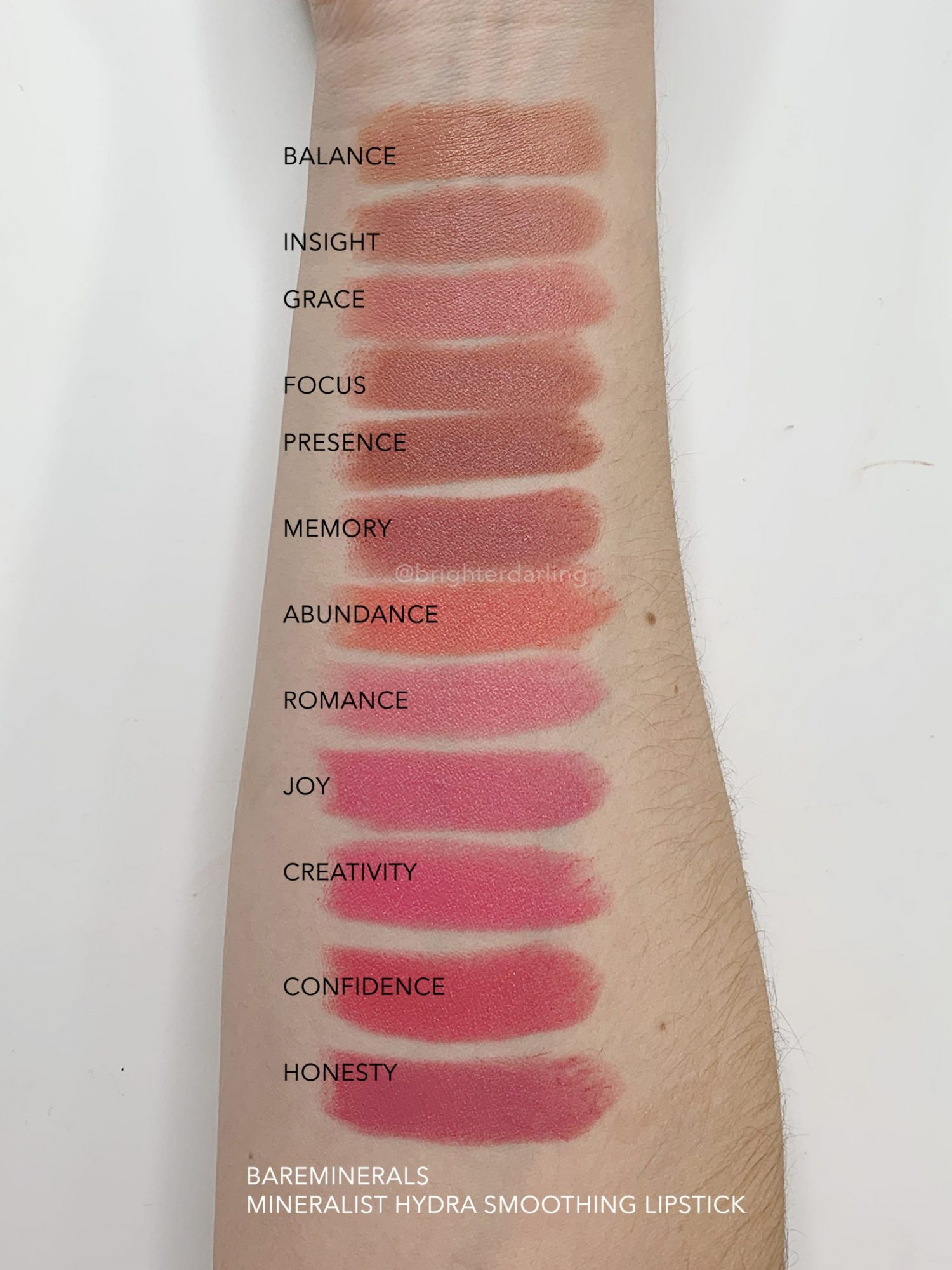 BAREMINERALS MINERALIST HYDRA SMOOTHING LIPSTICK SWATCHES 1 | Brighter Darling Blog