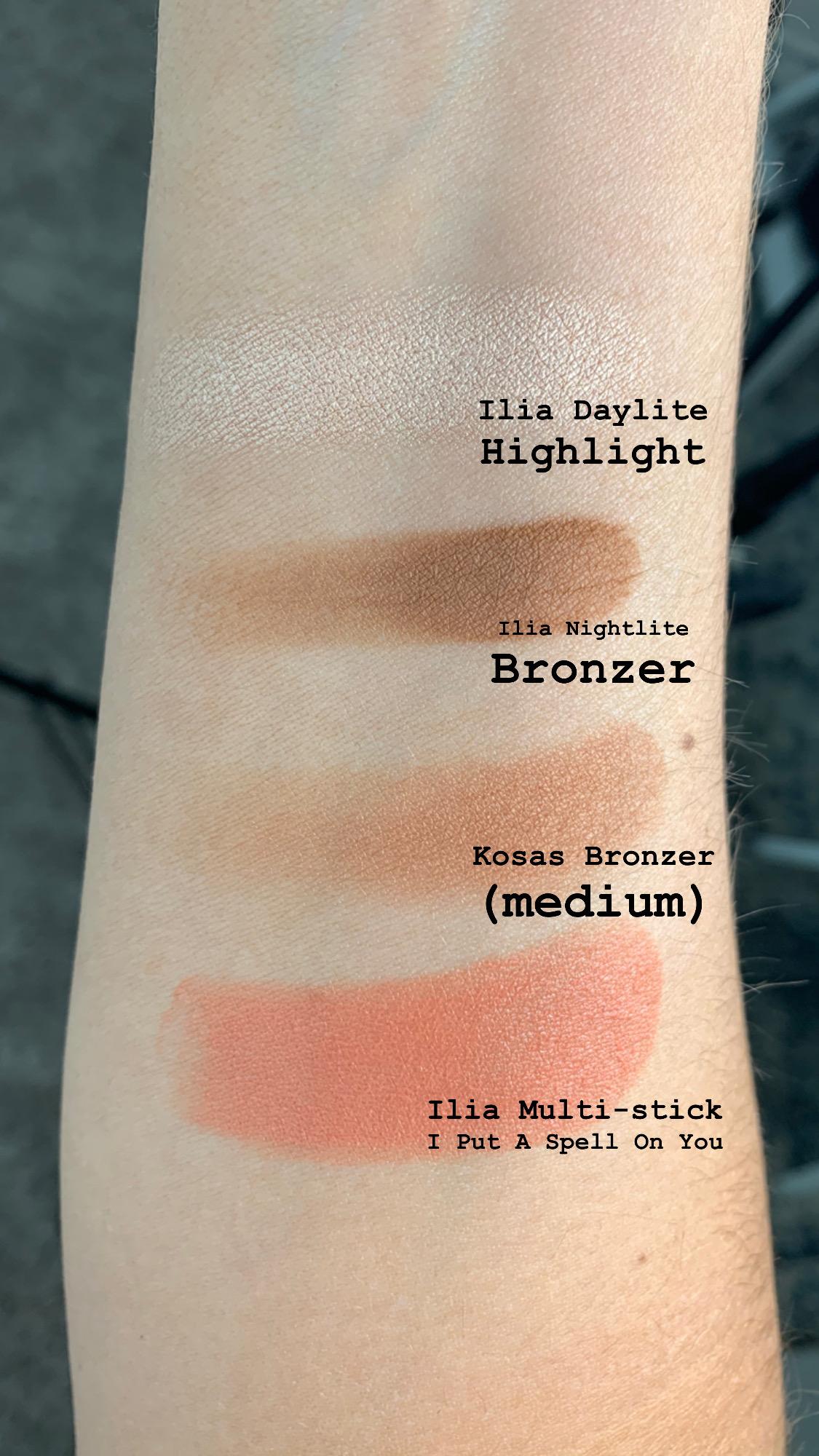 "Swatches of Ilia Daylite Highlighter Decades, Ilia Nightlite Bronzer Novelty, Kosas Bronzer Medium, Ilia Multi Stick ""I Put A Spell on You"""