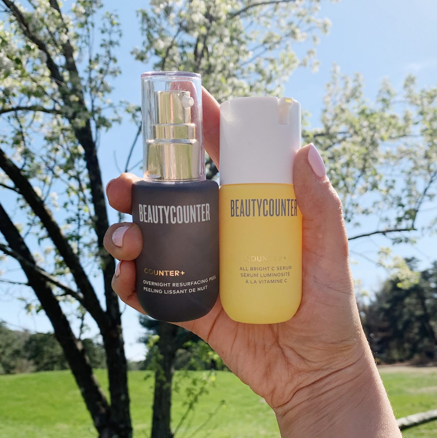 Glowing Skin Products | Beautycounter Overnight Resurfacing Peel and All Bright C Serum | Chemical Exfoliant and Vitamin C Serum | Brighter Darling Blog
