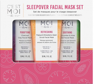 C'est Moi Sleepover Facial Mask Set | Cleaner Self Care for Tweens and Teens | Non toxic bath and body care for teens and tweens