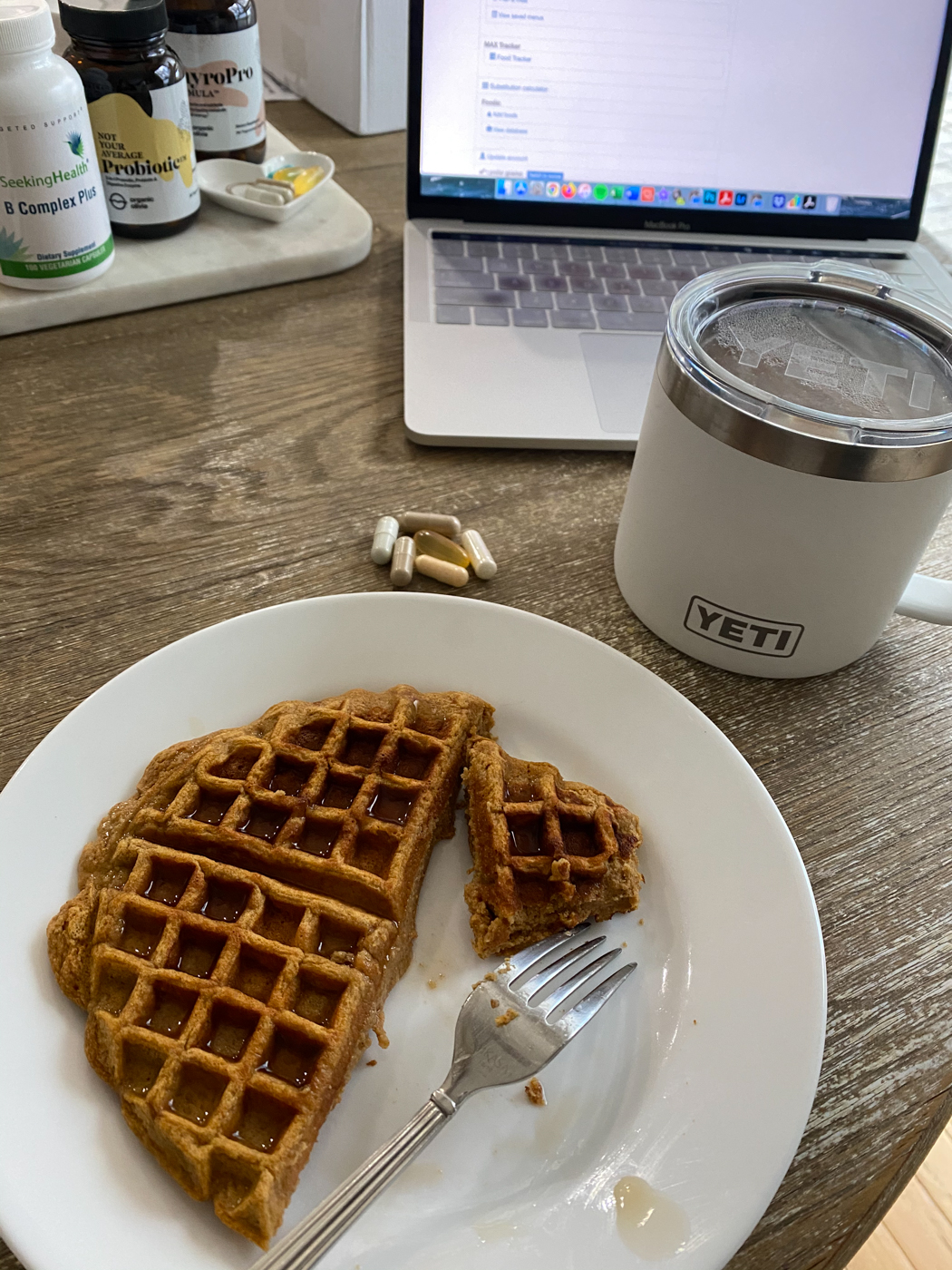 Breakfast Waffle with coffee and vitamins at desk with computer | Getting In Shape After C Section