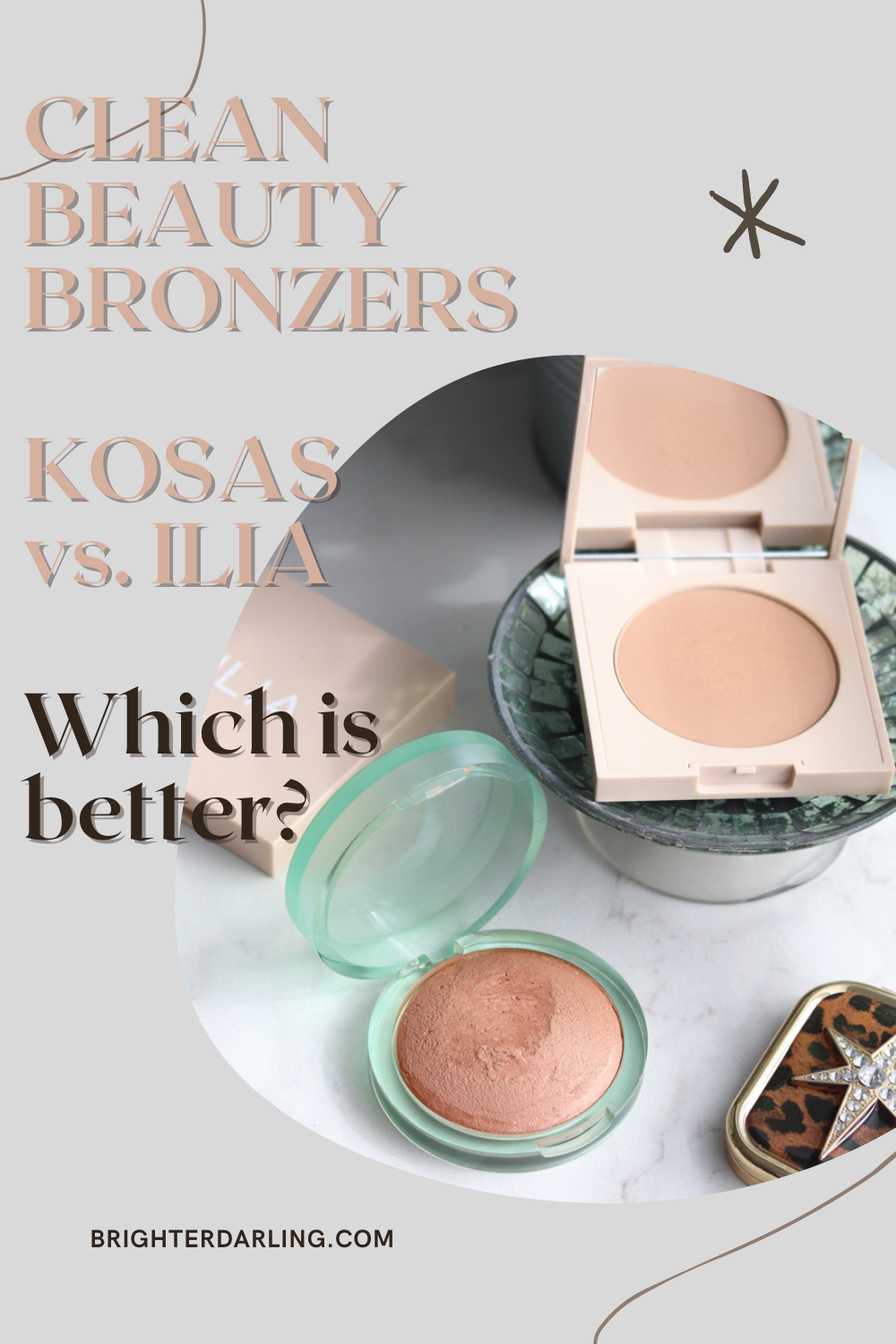 CLEAN BEAUTY BRONZERS KOSAS vs. ILIA Which is better? | KOSAS The Sun Show Bronzer Swatches, ILIA Nightlite Bronzer Drawn In, Novelty Swatches