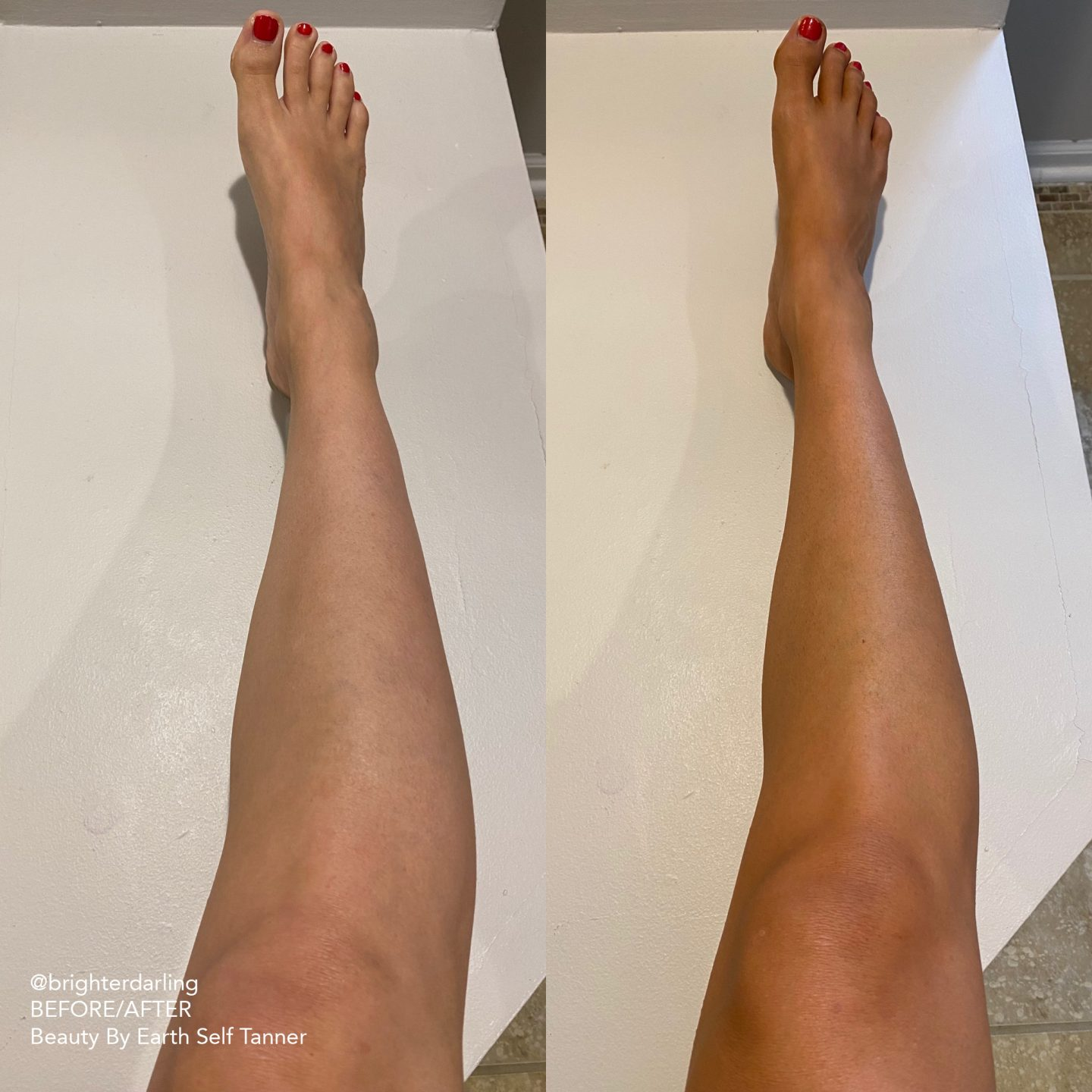 Before and After Beauty By Earth Self Tanner