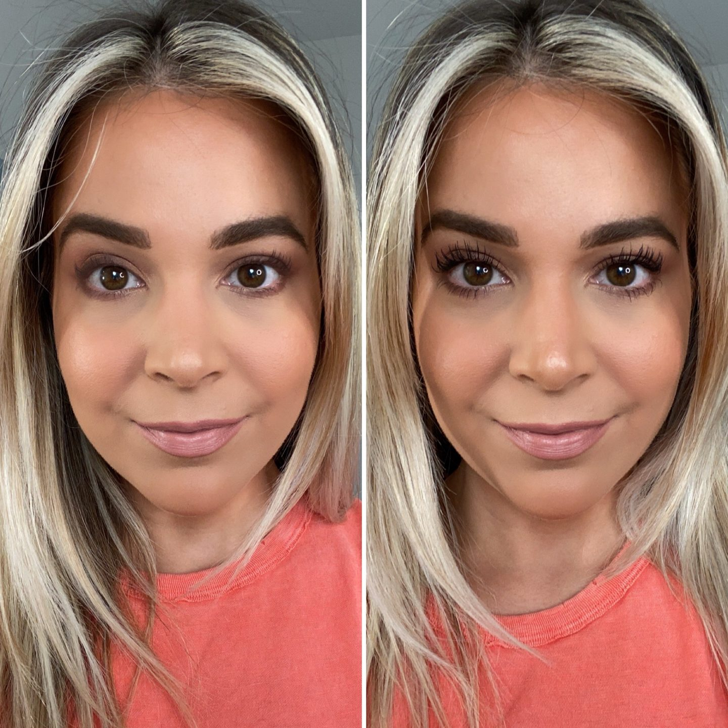 Ilia Fullest Volumizing Mascara before and after   Brighter Darling Blog