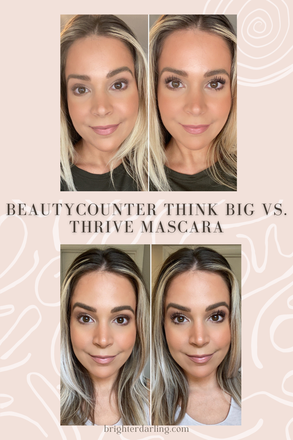 Comparing Beautycounter Think Big Mascara to Thrive Causemetics Lash Extensions Mascara | Before and after using Beautycounter Think Big Mascara and Thrive Causemetics | Beautycounter Think Big Mascara Review